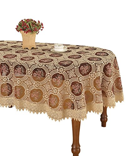 Simhomsen Vintage Beige Lace Tablecloth Embroidered Pansies Flower Maroon Translucent Gauze Oval 72 × 108 Inch
