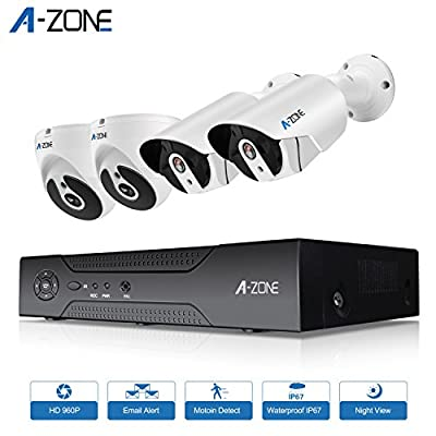 A-ZONE 1080P Security Camera System HD-TVI 4CH DVR Recorder With 4 x 1080P Indoor Outdoor IP67 Waterproof Dome & Bullet Cameras With IR Night Vision Motion Detection & Email Alert by debest
