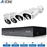 A-ZONE 960P Security Camera System 4 Channel HD-TVI Surveillance DVR 2x Bullet Cameras and 2x Dome Cameras IP67 Weatherproof IR Night Vision Motion Detection No Hard Drive