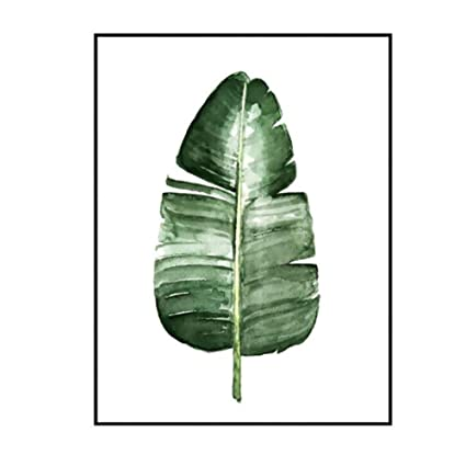 Ocamo Modern Green Plant Leaf Printing Canvas Art Poster Print Wall Picture  Home Decor Gift (without Frame) L-073 40x50cm