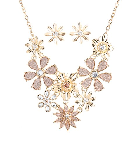 ELEARD Sparkling Flower Necklace Shimmering Crystal Layered Flowers Collar Necklace for Women Earring Necklace Set Daisy Jewerly Set Gold