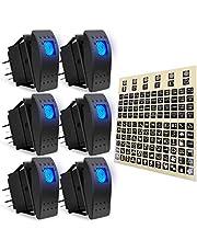 AutoEC 6Pcs Rocker Switch 12V 24V ON/Off Toggle Blue LED Light Switch 4 Pin SPST for Car Automotive Truck Boat Marine UTV with Night Glow DIY Sticker Labels