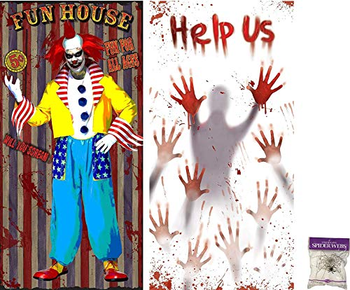 Potomac Banks Bundle: 3 Items - Door Cover (Set of 2) Fun House Clown and Help Us with Free Spider Web (Comes with Free How to Live Stress Free Ebook)]()