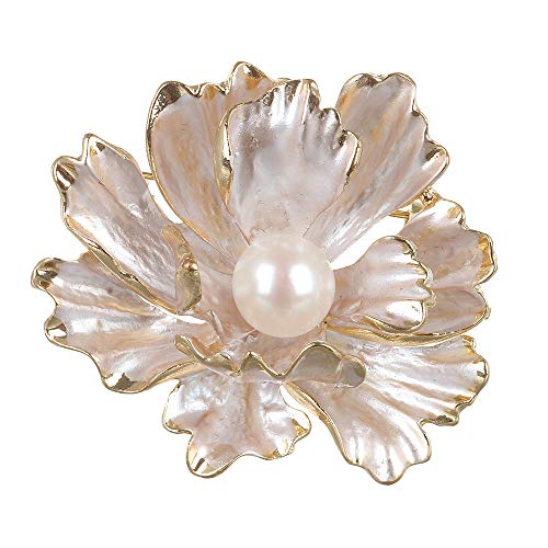 XinRui Floral Brooch Wedding Bouquet with Genuine Pearl in Lotus Shape