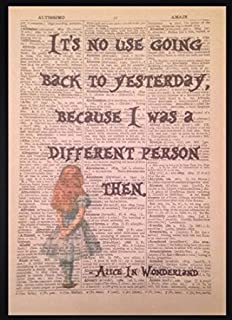 alice in wonderland quote vintage dictionary book page print wall art picture - Book Page Print