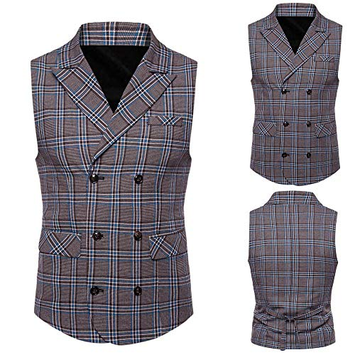 SMALLE ◕‿◕ Clearance,Men Plaid Casual Printed Sleeveless Jacket Coat British Suit Vest Blouse by SMALLE (Image #6)