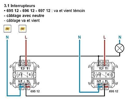 Legrand 69512 Va et vient témoin phase distribuée Plexo