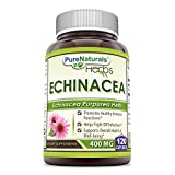 Pure Naturals Echinacea Supplement, 400 Mg Capsules -Made from Pure Echinacea Purpurea Root & Plant Extract Powder -Promotes Healthy Immune Function & Helps Fight Off Infection (120 Count (Pack of 2)) For Sale
