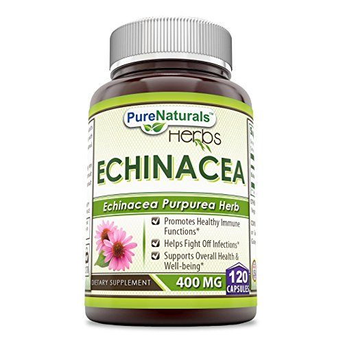 Pure Naturals Echinacea Supplement, 400 Mg Capsules -Made from Pure Echinacea Purpurea Root & Plant Extract Powder -Promotes Healthy Immune Function & Helps Fight Off Infection (120 Count (Pack of ()