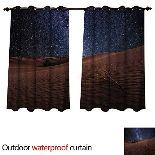 (WilliamsDecor Space Outdoor Balcony Privacy Curtain Life on Mars Themed Surreal Surface of Gobi Desert Dune Oasis Lunar Adventure Photo W120 x L72(305cm x 183cm) )