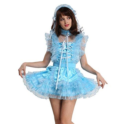 Gocebaby Lockable Sissy Maid Satin Organza Light Blue Puffy Dress (XL)