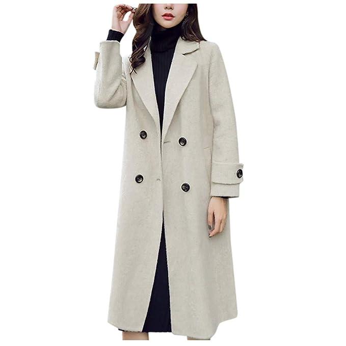 Women/'s Double Breasted Lapel Parka Long Trench Coat Jacket Windbreaker Overcoat