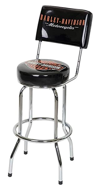 Cool Harley Davidson Bar Shield Bar Stool With Back Rest Hdl 12204 Machost Co Dining Chair Design Ideas Machostcouk