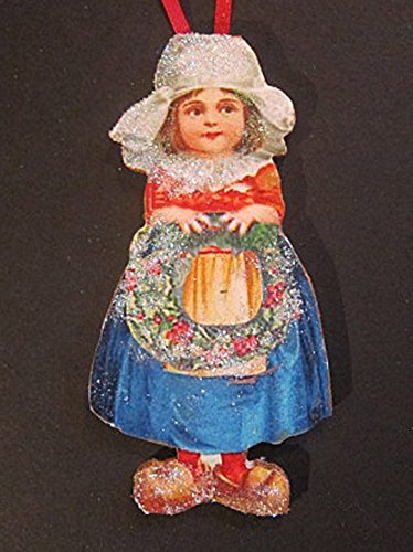 Enameled Christmas Wreath (Dutch Girl, Handcrafted Wood, Christmas Ornament, Ellen Clapsaddle, Antique Postcard, White Cap. Lace Apron, Wooden Shoes, Christmas Wreath)
