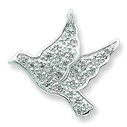 Argent Sterling de diamants bruts Pendentif colombe de la Paix-JewelryWeb MARCHE ARRIERE