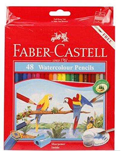 48 FABER CASTELL Water Color Pencils In Cardboard Box (Parrot)