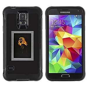 Suave TPU Caso Carcasa de Caucho Funda para Samsung Galaxy S5 SM-G900 / woman fashion orange black design / STRONG