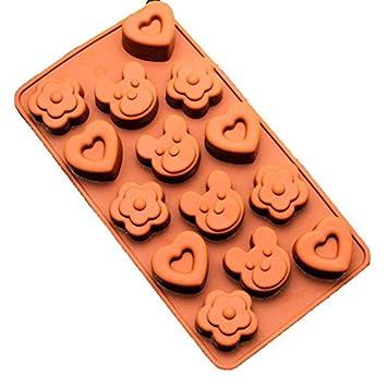 freshyware 15 Cavidad especial Mini color morado con forma de corazón oso molde de silicona para