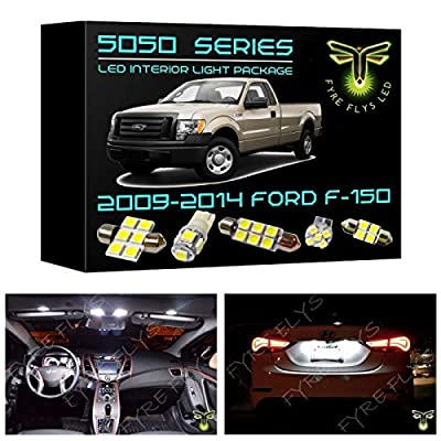 Fyre Flys 9 Piece White LED Interior Lights for 2009-2014 Ford F-150 F150 6000K 5050 Series SMD Package Kit and Install Tool: Automotive