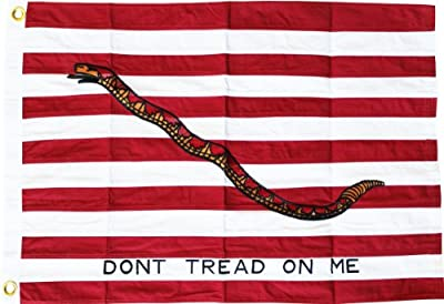 First Navy Jack (Dont Tread on Me) - 3' x 5' Cotton Flag