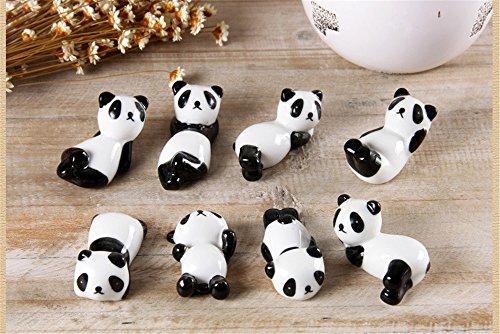 8 Pcs Set Cute Panda Ceramic Ware Chopsticks Stand Rest Rack by TanQiang