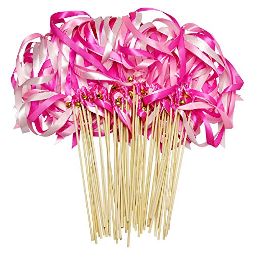 - Cieovo 50 Pack Ribbon Wands Wedding Streamers with Bells, Silk Fairy Stick Wand Party Favors for Party Activities Baby Shower Holiday Celebration (Pink)