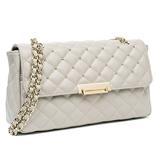 ANA LUBLIN Women Leather Shoulder Bag Small Quilted Handbag Purse Crossbody Bags Pearl-white