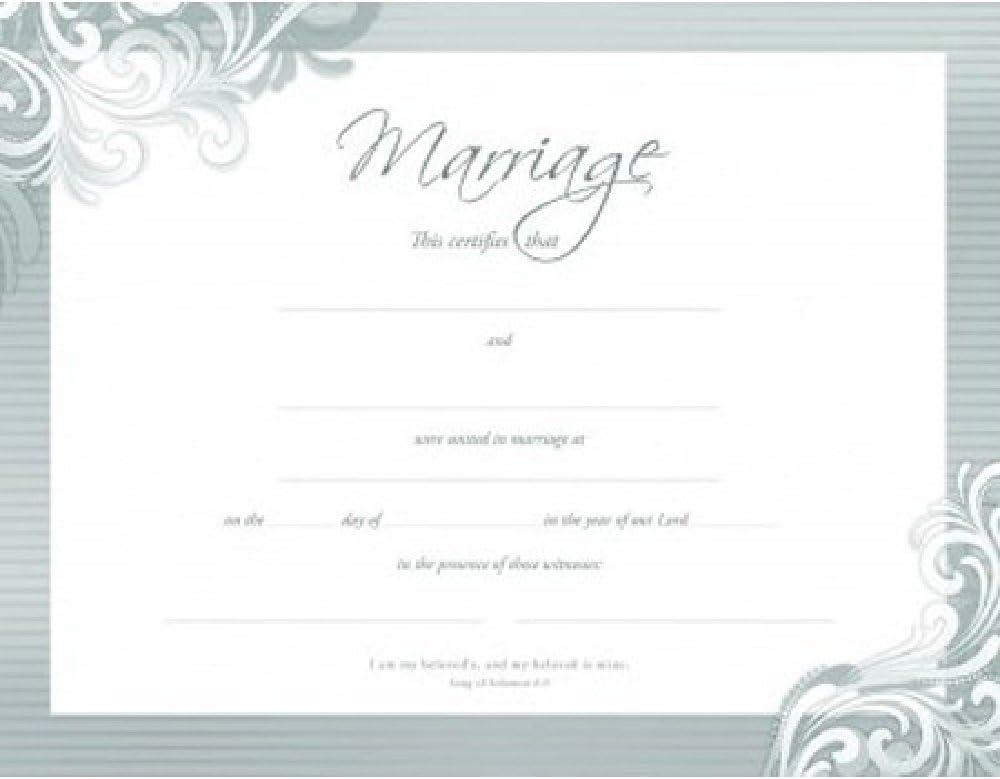 Certificate-:W-Marriage (Premium Stock Silver Foil Embossed) (Pk/6)