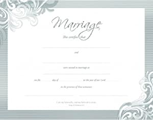 Certificate-:W-Marriage (Premium Stock Silver Foil Embossed) (Pk/6)