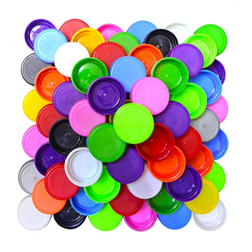 Pack of 100 Mixed-Color Plastic Bottle Caps for Kids DIY Craft ScraPbooks (Plastic Water Bottle Caps)