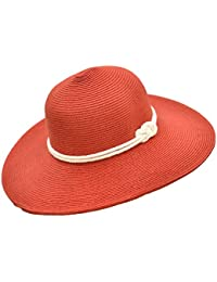 Classic Straw Floppy Beach Hat w Nautical Rope Hat Band, UPF 50+ Protection Sun Hat