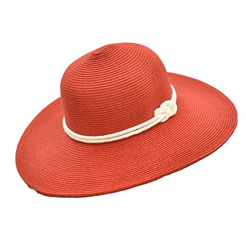 - Classic Straw Floppy Beach Hat w Nautical Rope Hat Band, UPF 50+ Protection Sun Hat (Red)