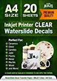 Premium Waterslide Decal Paper Inkjet CLEAR - 20 Sheets - Water Slide Decal Transfer Transparent - A4 Size