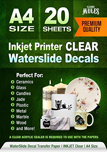 (Premium Waterslide Decal Paper Inkjet CLEAR - 20 Sheets - Water Slide Decal Transfer Transparent - A4 Size)