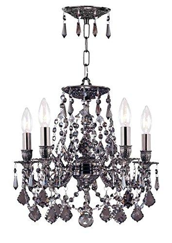 Crystorama 5545 pw sss mirabella five light chandelier pewter finish with swarovski