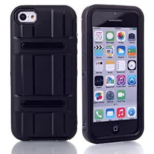 MagicSky PC + TPU Snug Fit Impact Hybrid Case for Apple iPhone 5C - 1 Pack - Retail Packaging - Black/Black