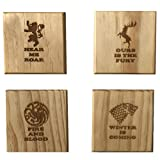 Game of Thrones coasters (By Brindle Designs): Game of Thrones inspired permanent engraved gift set of 4 wood coasters(By Brindle S. Designs): Stark, Baratheon, Targaryen, Lannister
