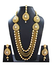 Shoppingover Womens Kundan Polki Pearls Gold Necklace Set with Earrings