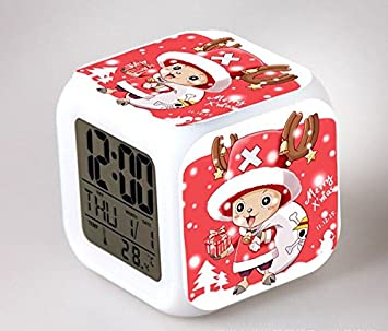 Amazon.com : One Piece Digital Action Figures Luffy Chopper Clock Reloj Despertador Colorful Model Doll Anime Led Alarm Clocks Light Up Toys : Baby
