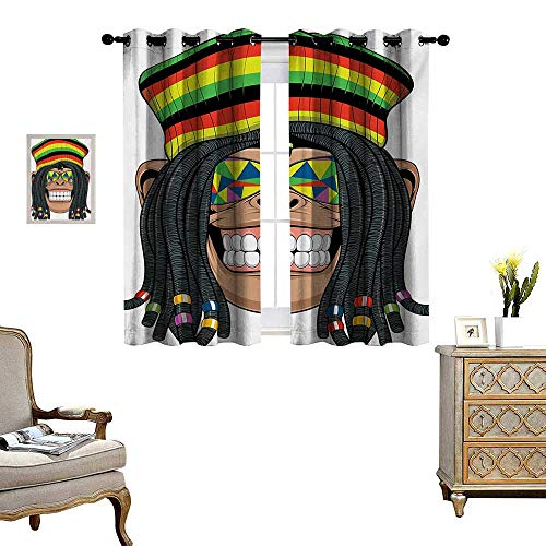 Tropical Animals Blackout Window Curtain Portrait of Chimpanzee with Dreadlocks and Cap Hippie Musician Monkey Boho Customized Curtains W63 x L45 Multicolor