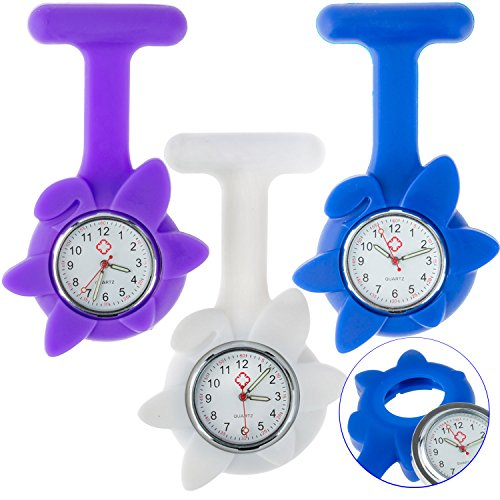 Set / Kit / Lot of 3 Fob / Brooches / Pockets Analogue Quartz Watches for Doctors, Nurses and Health Care Workers With Colorful Infection Control Silicone / Rubber / Jelly Hygienic Covers