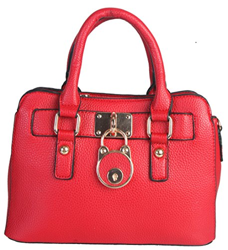 Diophy Solid Color Oversize Pad Lock Design Double Rolled Handles Zipper Closure Roomy Interior Adjaustable Shoulder Strap Purse Handbag (Red)