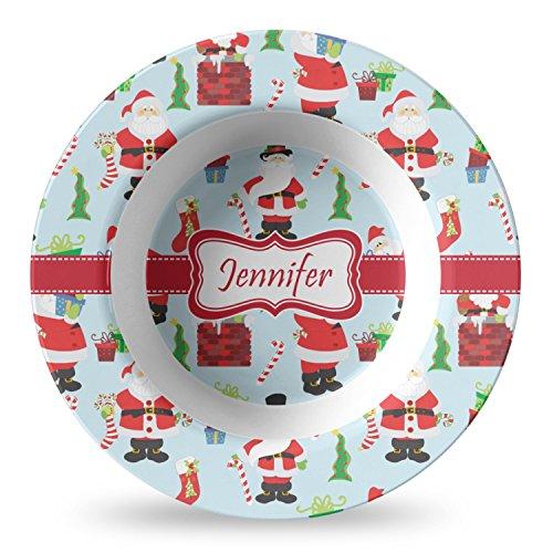 Santas w/Presents Plastic Bowl - Microwave Safe - Composite Polymer (Personalized)