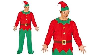 GUIRMA Traje Hombre Elfo adlátere de Papá Noel, Color Rojo ...