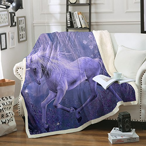 Sleepwish Unicorn Blankets Purple Fleece Sherpa Blanket