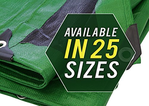 Trademark Supplies Heavy Duty Thick Material Waterproof Tarp Cover, 30X50-Feet, Green/Black