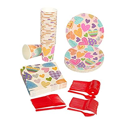 Disposable Dinnerware Set - Serves 24 - Love Theme Valentines Day Party Supplies - Heart Design Paper Plates, Napkins, Cups, Plastic Knives, Spoons, Forks