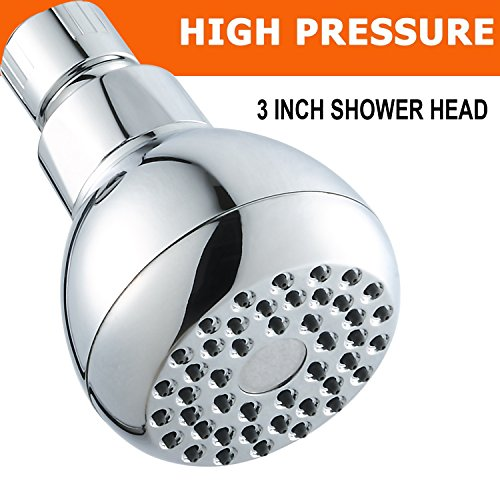 Shower Head, 3 Inch High Pressure Showerhead 2.5 GPM Shower Heads, Adjustable Brass Ball Joint Shower Head, Powerful High Flow Shower Head for Use at Home, Hotel, RV & Travel.