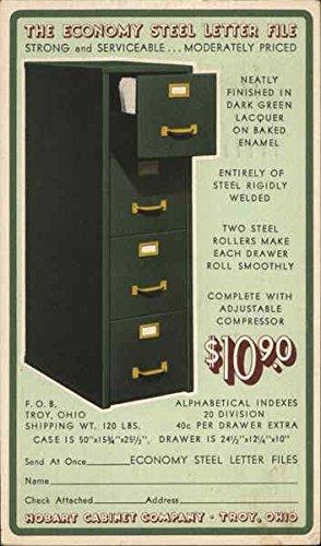 The Economy Steel Letter File, Hobart Cabinet Company Troy, Ohio Original  Vintage Postcard