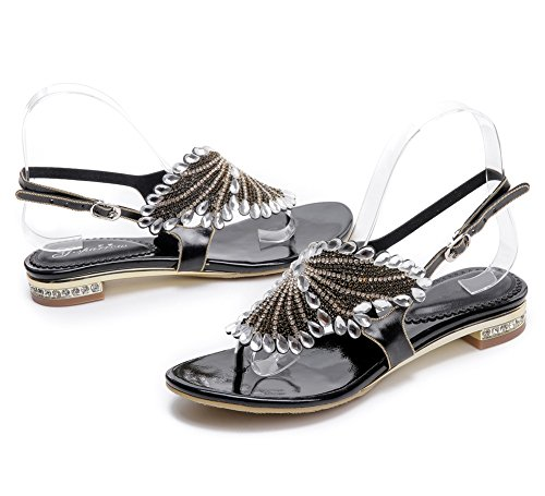 en T Mujer Sandalias Imitación Zapatos Plano de Señoras Diamante Chancletas NVXIE Verano Playa Negro Bohemia Correa n0dYqB0P